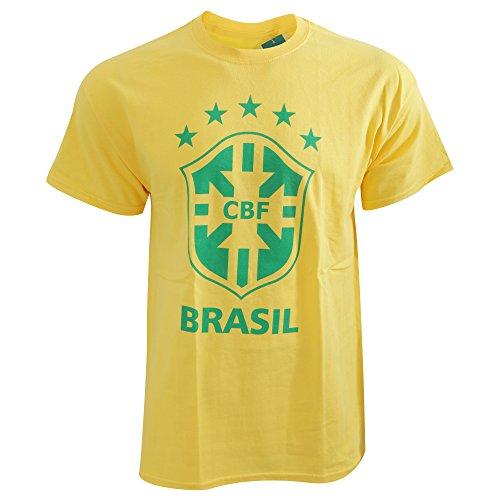Herren T-Shirt mit CBF Brasil Fußball Design (S) (Gelb)