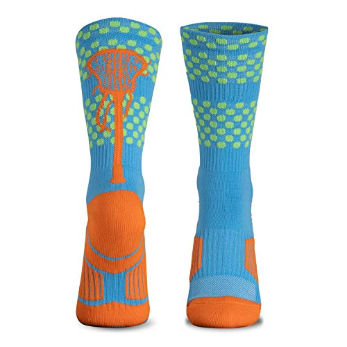 ChalkTalk SPORTS Athletic Half Cushioned Lacrosse Crew Socks | Mid Calf | Tropic Neon Lacrosse...