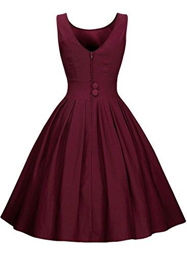 Miusol Damen Elegant Rundhals Traegerkleid 1950er Retro Cocktailkleid Faltenrock Kleid weinrot Groesse S - 2