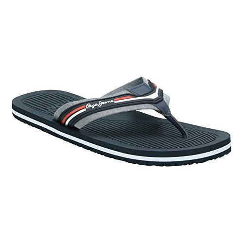 Pepe Jeans London Herren Pantolette Off Beach Sommer Flip Flops für Herren Blau (564 Chambray) Größe 46 EU