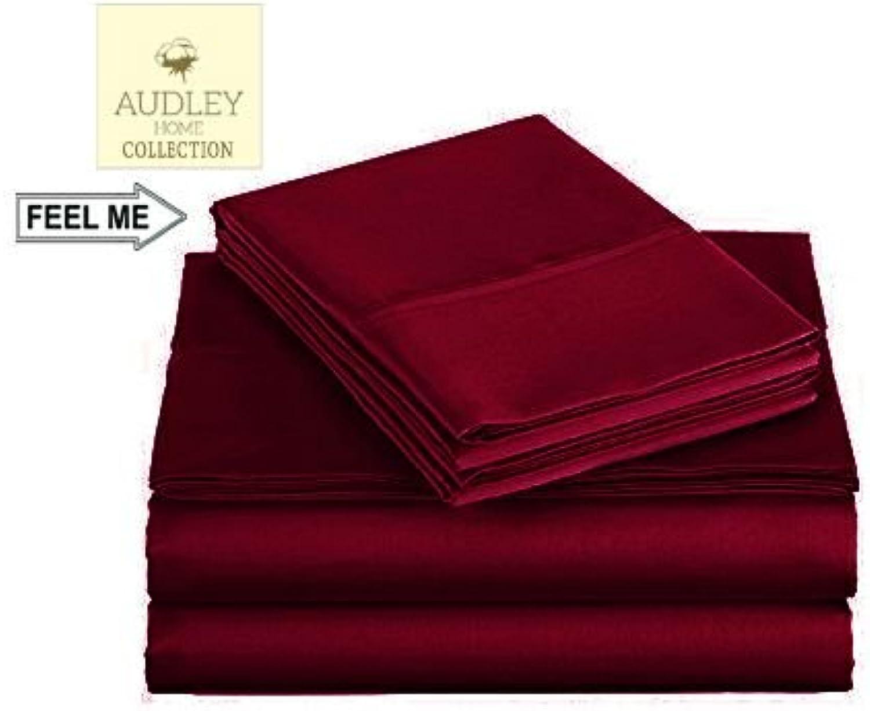 Audley Home 600 Thread Count Luxurious Bedding Set 4 Piece (1 Flat Sheet 1 Fitted Sheet & 4 Pillow Shams) 100% Long Staple Egyptian Cotton Sheet Set (Burgundy, Twin)