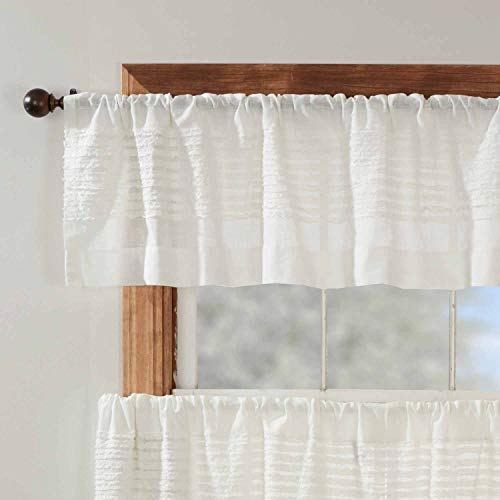 """Kathryn Valance Curtain, 16"""" L x 72"""" W, Ruffled Curtain Topper in a Linen-Look Soft White Cotton Semi-Sheer Fabric, Farmhouse, Cottage, Country Style Sheer Kitchen Bath Curtains"""