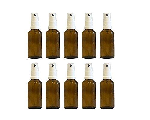 Efecto de farmacia vaporizador de pulverizador de cristal marrón (10piezas, Capacidad 50ml botellas de cristal pequeñas (fabricado en Alemania.