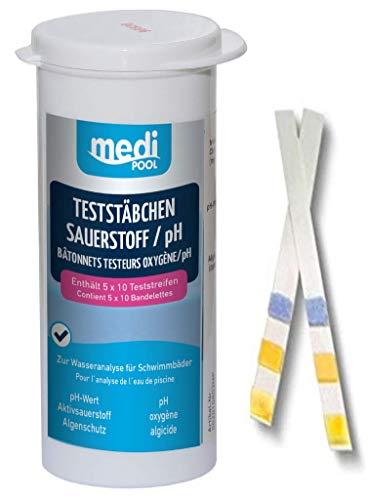 Medipool Schwimmbadpflege TestStäbchen Sauerstoff/pH, 50-er Pack
