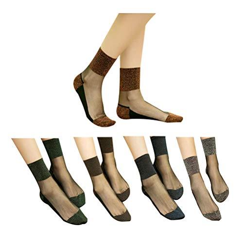 Okwin 10 Paar Söckchen Damen Ultradünne Transparente Kristall Socken Elastische Kurze Socken Baumwollsohle Socken Schwarz