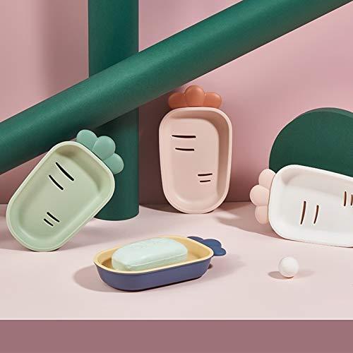 Set of 4 Mentalism Soap Dish Radish Shape Soap Dish Bathroom and Household Toilet Drain Soap Dish
