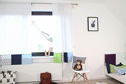 ULLENBOOM ® patchwork gordijnen kinderkamer 140x170 cm I katoenen gordijnen voor babykamer, 2 sjaals met trekkoord I I olifant blauw groen