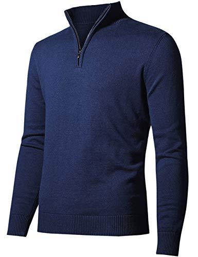 AOLI RAY Mens Golf Jumper Katoen 1/4 Zip Slim Fit Gebreide Trui Tops Pullover