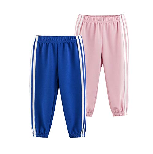 HOVECN Baby Long Bloomers Harem Pants Boys Girls Anti-Mosquito Pants (2 Pack) (Blue + Light Pink, 6-7T)