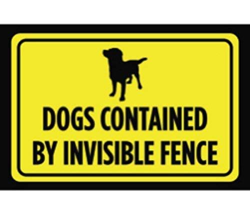 WenNuNa Aluminium-Metall-Hunde von unsichtbarem Zaun-Druck, gelb/schwarz, Poster-Symbol-Bild, Außenbereich, Hof Hinweis