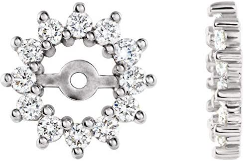 14K White Gold 1 2 Genuine CTW Diamond Jackets with Earring 4.2mm ID Hal San Francisco Mall