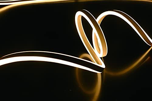 LEDZEIT - Profi Serie - LED Neon Flex Licht Streifen, Lichtschlauch, Außen und Innen. 5m, Warmweiß, 230V, 120LED/M, Wasserdicht IP65, Dimmbar, Kürzbar. Garten, Deko, DIY, LED Strip, Band