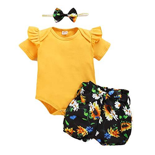 OPAWO Ensemble de vêtements pour bébé fille et nouveau-né Barboteuse + short imprimé tournesol + bandeau 3 pièces -  Jaune - 18 mois