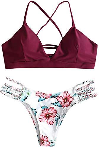 NTNY3 Mini Bikini Sexy Costumi Donna Mare Due Pezzi Push Up Imbottito Ragazza (Vino Rosso, M)
