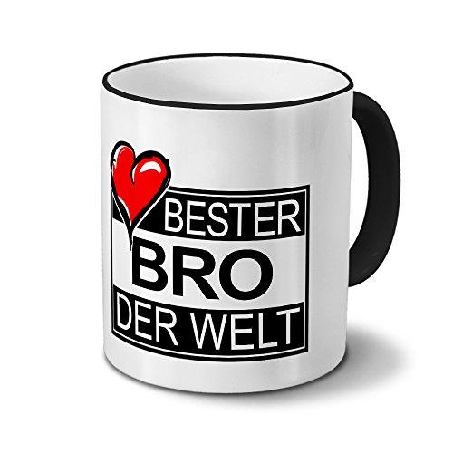 Tasse mit Namen Bester Bro der Welt - Motiv Textart-Layout 4 - Namenstasse, Kaffeebecher, Mug, Becher, Kaffeetasse - Farbe Schwarz