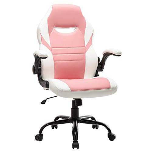 STARSPACE Flip-Up Arms Office Gaming Chair, Ergonomic Swivel Computer Racing Game Chair Adjustable Desk Task Chair (Pink)