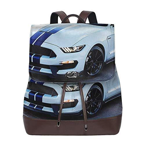 Rucksack Damen Kühler weißer Mustang, Leder Rucksack Damen 13 Inch Laptop Rucksack Frauen Leder Schultasche Casual Daypack Schulrucksäcke Tasche Schulranzen