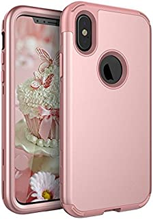 SKYLMW iPhone X Case, iPhone Xs Case, [Heavy Duty] Three Layers Hybrid Rugged Shockproof Armor High Impact Defender Case Cover for Apple iPhone X 2017/XS 2018, Rose Gold
