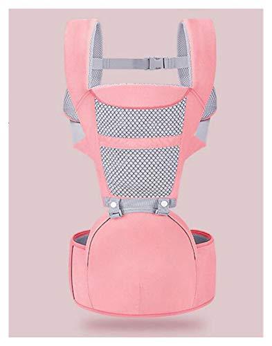 SCYMYBH Portador de bebé ergonómico 0-48 Meses Mochila con Asiento de Cadera para recién Nacido multifunción Infantil Sling Sling Wrap Whap heces bebé Canguro (Color : Pink)