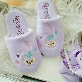 Zapatillas de algodón Zapatillas de conejo de Stella de dibujos animados japoneses lindas Zapatillas de algodón de felpa Conejos de ballet Inicio Zapatillas de algodón de dormitorio antideslizantes