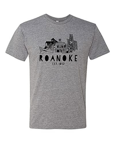Roanoke, Virginia (VA), Graphic Men's Tee, Funny T Shirt, Shirts with Sayings, Heather Gray or Indigo