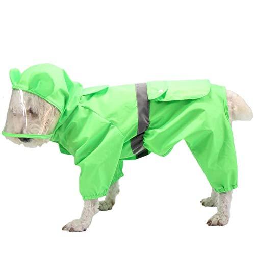 Homieco Hond Regenjas met Hoodie Reflecterende Veiligheidsstroken, Waterdichte Jas Lichtgewicht voor huisdier, Hond Kleding Regen/Waterbestendig, Regen Vest voor Medium Grote Hond