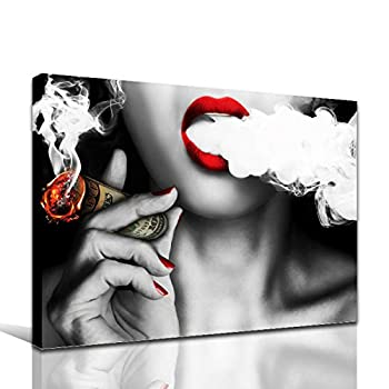Faicai Art Wall Art Prints Canvas Paintings Wall Posters Red Lips Woman with Money Cigar Picture Printings on Canvas Idea Creative Home Decoration Office Wall Decor Stretched and Framed 32 x48