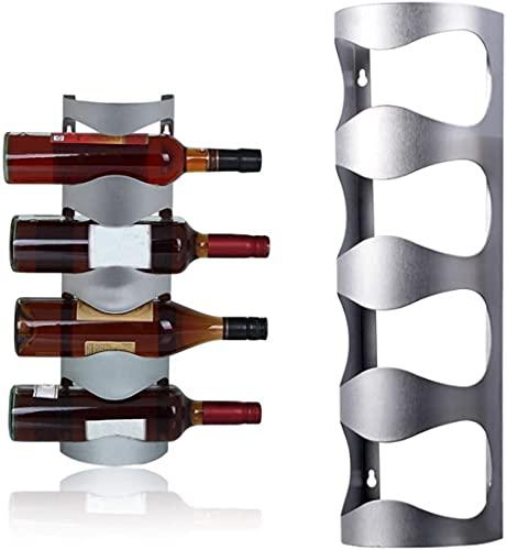 CLQ Estante De Vino Montado En La Pared De 4 Botellas, Estante De Almacenamiento De Botellas De Vino De Acero Inoxidable para El Hogar Estante De Vino Montado En La Pared para El Hogar Creativo