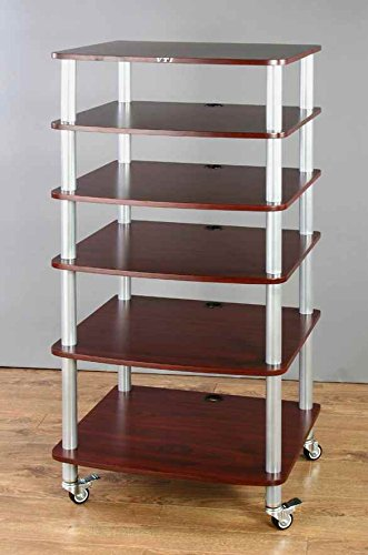 VTI Manufacturing AR406SC 4 Silver Poles 6 Cherry Shelves with Caster AV Stand