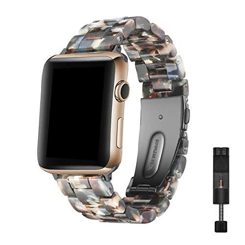 Cinturino Apple Watch in Resina Compatibile con Cinturino iWatch 38mm 40mm, Bracciale di Ricambio in Resina Fibbia in Acciaio Inossidabile per Apple Watch Series 5 4 3 2 1, Blu Notte, 38mm/40mm