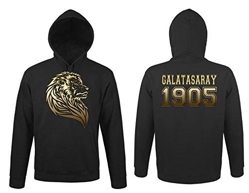 TRVPPY Herren Kapuzenpullover Hoodie Sweater Galatasaray Istanbul Löwe Aslan, Gold Schwarz, L