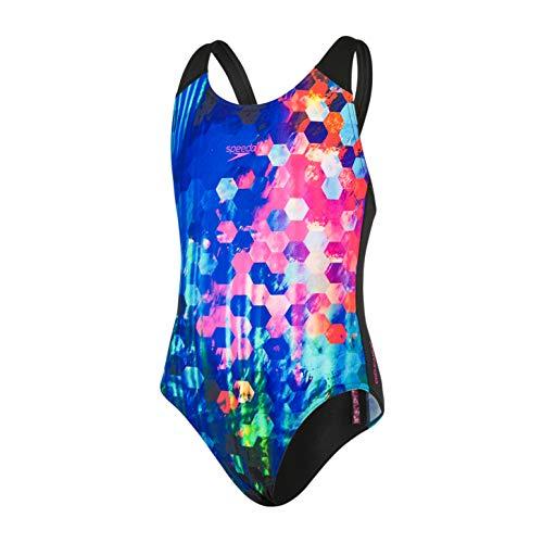 Speedo Mädchen PopFlash Placement Digital Spashback Badeanzug, Schwarz/New Surf/Rosa-Violett, 24