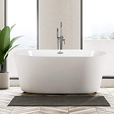 "FerdY 55"" Freestanding Bathtub Small Classic Oval Shape Acrylic Soaking Bathtub, F-0522 Modern White, cUPC Certified, Drain & Overflow Assembly Included"