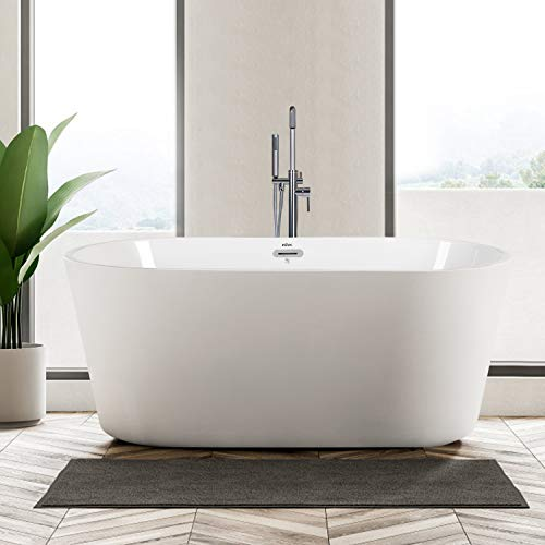 FerdY 55' Freestanding Bathtub Small Classic Oval Shape Acrylic Soaking Bathtub, Modern White, cUPC Certified, Drain & Overflow Assembly Included