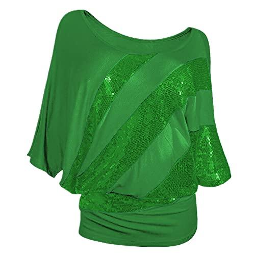 Camiseta Mujer Shirt Mujer Oversize Verano Cómodo Elegante Cuello Redondo Manga Corta Tendencia De Moda Lentejuelas Decoración Suelta Cómoda Mujer Tops Blusa Mujer B-Green XXL