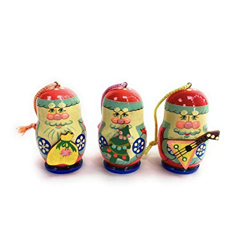 A Unique Set of Christmas Tree Decorations Made of Wood Winter Miracle. Each Toy is lovingly Carved and Painted by an Artist from St. Petersburg.Handmade in Russia by RUS Heritage.
