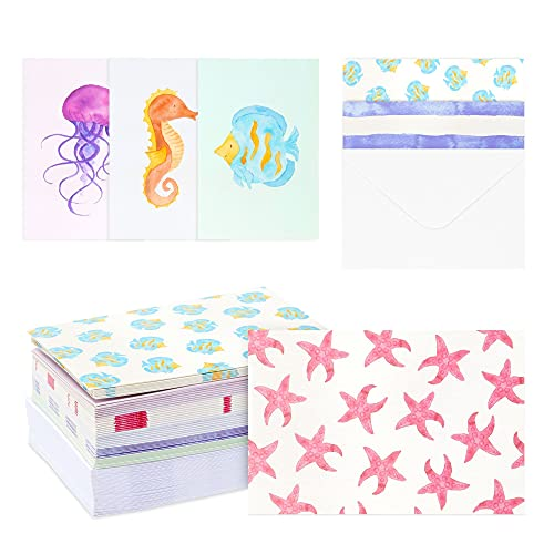 Blank Greeting Cards with Envelopes, Watercolor Sea Ocean (4x6 In, 48 Pack)
