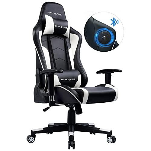 GTPLAYER Gaming Stuhl mit Lautsprecher Bürostuhl Schreibtischstuhl Serie Musik Audio Gamer Stuhl Drehstuhl Ergonomisches PC Stuhl Multi-Funktion E-Sports Chefsessel (Schwarz-weiß) gtracing Series
