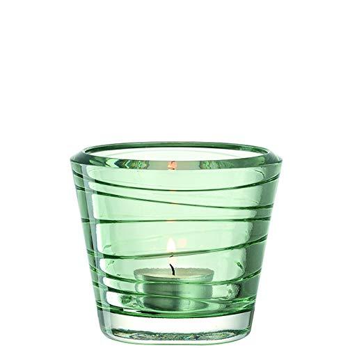 LEONARDO Vario Struttura Glas Kerzenständer Kerzenhalter Tischlicht mit Teelicht (Grün, 6 Stück)