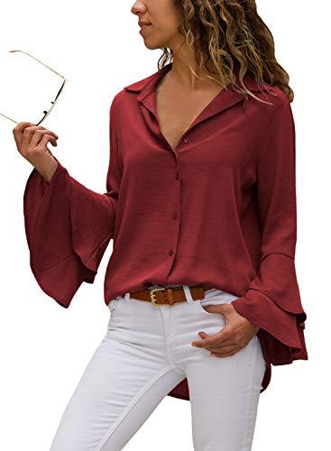 Happy Sailed Damen Trompetenärmel Elegant Causaul Chiffon Bluse Hemd Oberteil S-XXL, Rot, Small(EU36-38)