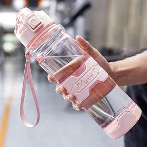 ボトル 水筒 ポータブルストロースポーツウォーターボトル500 700 1000 1500ml BPAフリー プラスチックウォーターボトル 自転車 大人 子ども アウトドア スポーツ 登山用/キャンプ/ランニング/ジム/,Pink,1000ml