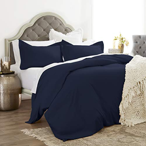 Jácler Classic 3 Piece Duvet Cover Set (Navy, King/California King) Better Than Egyptian Cotton - 1800 Se - Brushed Microfiber - Wrinkle/Fade/Stain Resistant - Hypoallergenicries