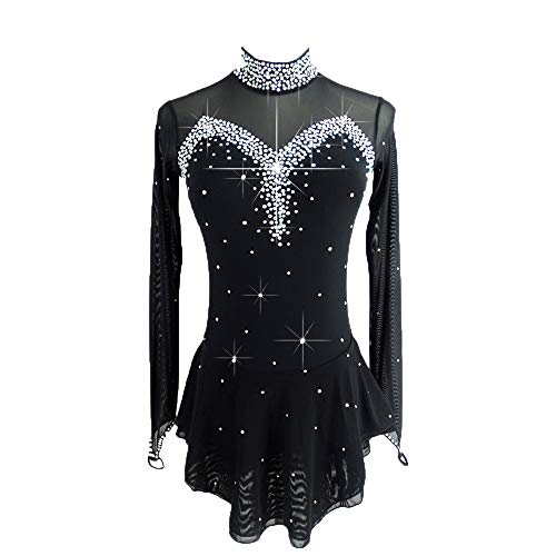 LIUHUO Black Ice Figure Skating Dress for Girls Women Backless Long-Sleeved Beaded Dresses(L)