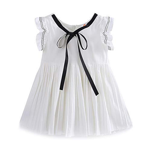 Mud Kingdom Preppy Girls Dresses Linen 4T White