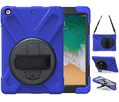 iPad Air 2 Case with Stand 2014 | TSQ iPad Air 2nd Gen Case Shockproof Defender Hard Case w/ 360° Swivel Stand Hand Grip Shoulder Strap for Apple Tablet Air 2 Gen for Kids Girls Boys A1566 A1567, Blue