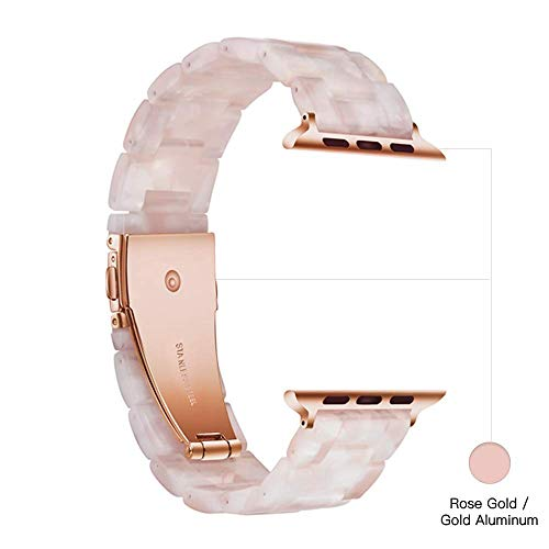 Light Apple Watch Band - Fashion Resin iWatch Band Bracelet Compatible with Copper Stainless Steel Buckle for Apple Watch Series 5 Series 4 Series 3 Series 2 Series1 (Flower Pink, 38mm/40mm)