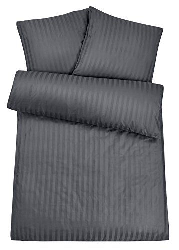 Carpe Sonno Luxus Damast Bettwäsche 155 x 220 cm Anthrazit Grau - 100% Baumwolle robuster Qualitäts Reißverschluss - Graue luxuriöse Hotelbettwäsche und Kopfkissen Bezug Set mit edlen Damast-Streifen