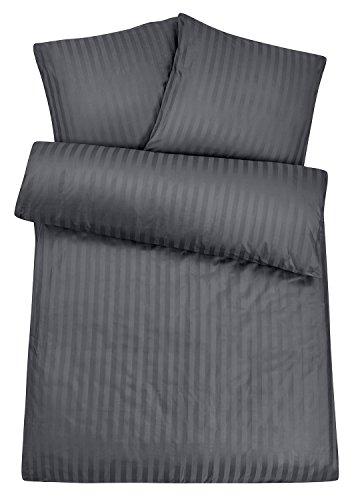 Luxuriöse Damast-Bettwäsche in exklusiver Hotelqualität 135 x 200 cm Grau Anthrazit aus 100 % Baumwolle für besten Schlafkomfort – Hotel-Bettwäsche Set mit Kopfkissen-Bezug und edlen Damast-Streifen