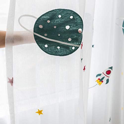 L/S Planet Vorhang Durchsichtig Kinderzimmer Junge Rakete Sterne Muster 140x245 Lang Gardinen Transparent Kräuselband Kinder Fensterschal Deko 2er Pack