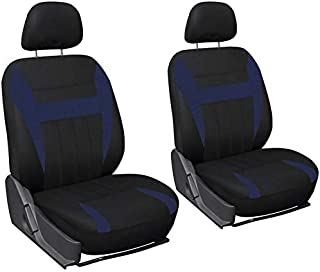 Motorup America Low Back Bucket Auto Seat Cover Set - Fits Select Vehicles Car Truck Van SUV - Blue & Black